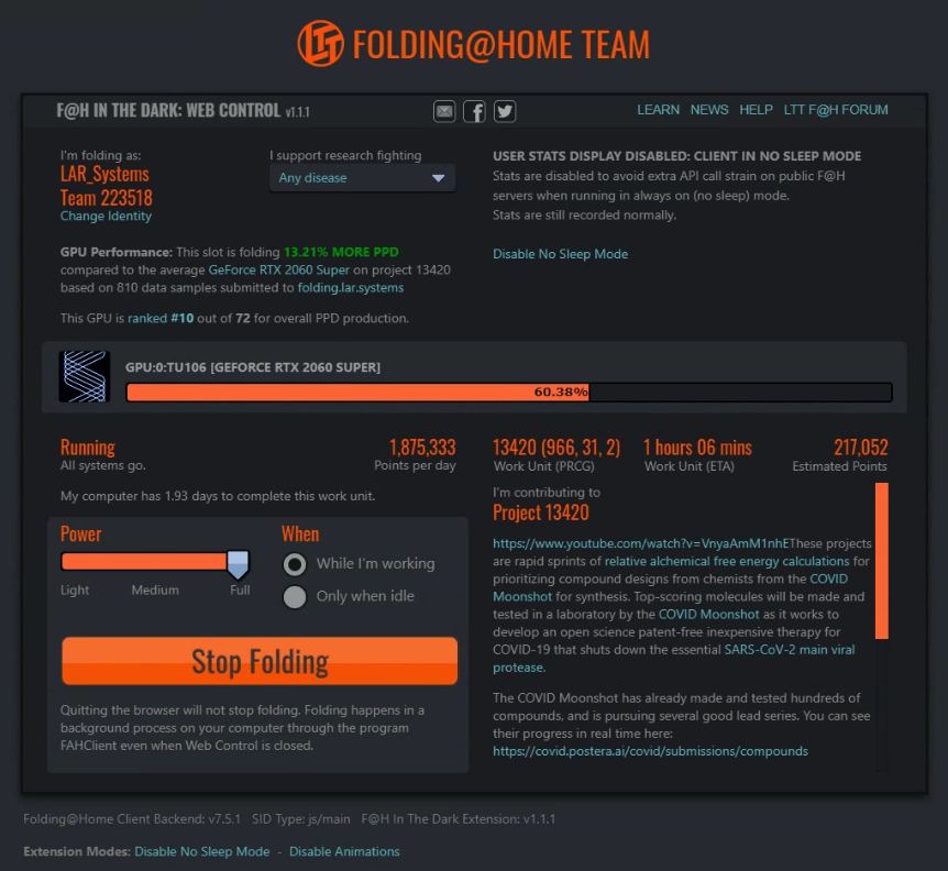 FOLDING AT HOME IN THE DARK TEAM LTT MODE screen shot